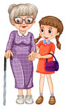 Little girl and grandmother. Illustration Stock Images