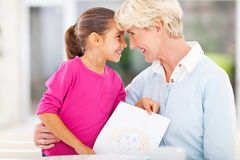 Little girl grandmother Stock Photo