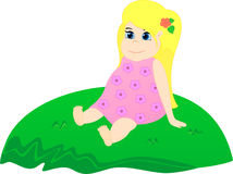 Little girl on the grass. Little girl siting on the grassy hill. Baby dreaming and admire Royalty Free Stock Photos