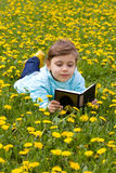 Little girl on the grass reading book royalty free stock image