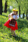 Little girl  on grass. Stock Photography