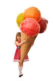Little girl and greatest ice cream Royalty Free Stock Photography