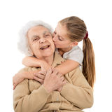 Little girl with greatgrandmother Stock Photo