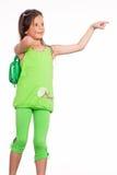 Little girl in green Stock Photos