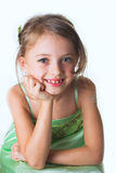 A little girl in green dress Royalty Free Stock Image