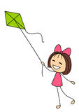 Little girl with green kite Stock Photo