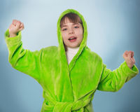 The little girl in a green robe  isolated Royalty Free Stock Photo