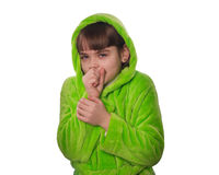 The little girl in a green robe  isolated Stock Photo