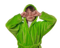 The little girl in a green robe  isolated Stock Photos
