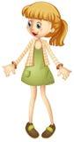Little girl in green skirt Stock Photo
