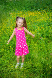 Little girl in green summer city park Royalty Free Stock Photography