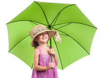 Little girl green umbrella isolated white Stock Photos