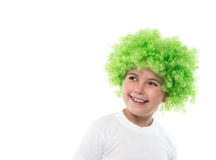 Little girl in green wig Royalty Free Stock Photography