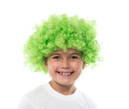 Little girl in green wig Stock Images