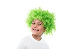 Little girl in green wig Stock Photos
