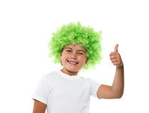 Little girl in green wig Stock Photography