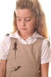Little girl grossed out by lizards Stock Photos