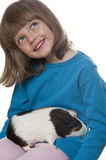 Little girl and a guinea pig Stock Photography