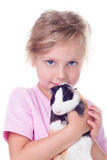 Little girl with guinea pig Stock Photo
