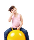 Little girl in gym Royalty Free Stock Images