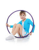 Little girl the gymnast does exercise Royalty Free Stock Images