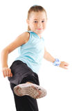 Little girl gymnastics. White background Royalty Free Stock Photography
