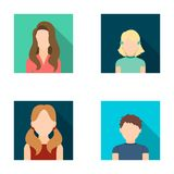 Little girl with hairpins, dark woman, girl with ponytails, boy teenager.Avatar set collection icons in flat style Royalty Free Stock Photography
