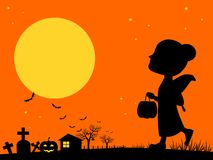 Little girl on halloween night Royalty Free Stock Images
