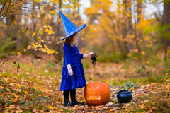 Little girl on Halloween trick or treat. Little girl in witch costume playing in autumn park. Child having fun at Halloween trick or treat. Kids trick or Royalty Free Stock Photos