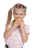 Little girl with hamburger Stock Image