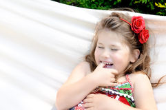 Little girl in hammock Royalty Free Stock Images