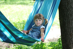 Little girl on a hammock Stock Photography