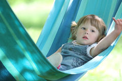 Little girl on a hammock Royalty Free Stock Image