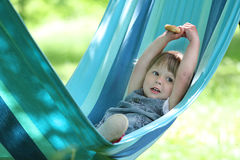 Little girl on a hammock Royalty Free Stock Images