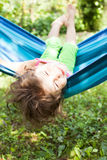 Little girl on hammock Stock Image