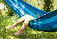 Little girl on hammock Royalty Free Stock Photos