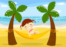 Little girl on hammock in palm beach. Illustration about a cute little girl lay down on an hammock between 2 palms under the sun on the beach at seaside Royalty Free Stock Photography