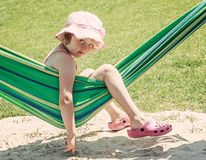 Little girl on a hammock Royalty Free Stock Photography