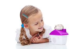 Little girl with hamster Stock Image