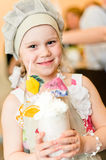Little girl with hand made cocktail Royalty Free Stock Photo