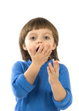 Little girl with hand before open mouth Royalty Free Stock Photography