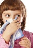 Little girl with handkerchief close up. Little girl with handkerchief  isolated on white Stock Photo