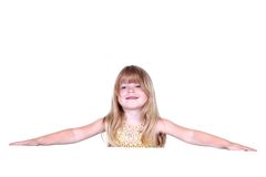 Little girl with hands Stock Photos