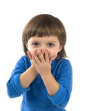 Little girl with hands before open mouth smiling Stock Photo