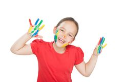 Little girl with hands in the paint Royalty Free Stock Photos
