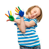 little girl with hands in the paint. Stock Image