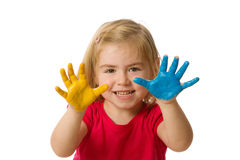 Little girl with hands painted Stock Photo