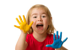 Little girl with hands painted Stock Photography