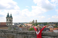 Little girl with hands up on Eger fortress Hungary Stock Photo