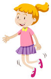 Little girl with happy face skipping. Illustration Royalty Free Stock Photo